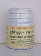 KRUMIMUDGAR Rasa, Ayurveda Rasashala, 60 Tablets, for Worm related suymptoms like anorexia