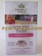 Organic India TULSI SWEET ROSE,18 Tea Bags, Stress Relieving & Delightful