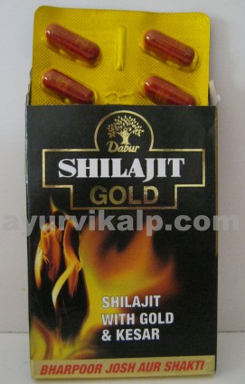 Dabur SHILAJIT Gold Capsules, 10 Cap., Increase in stamina & endurance