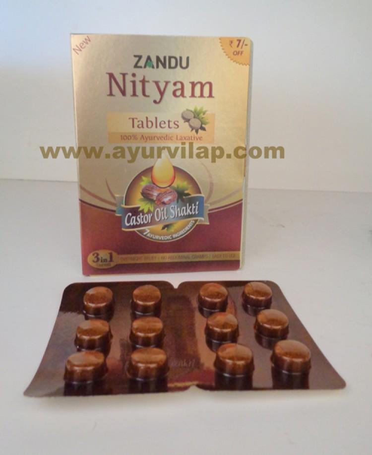 NITYAM TABLETS Ayurvedic Laxative By Zandu, Total Bowel Expert Care